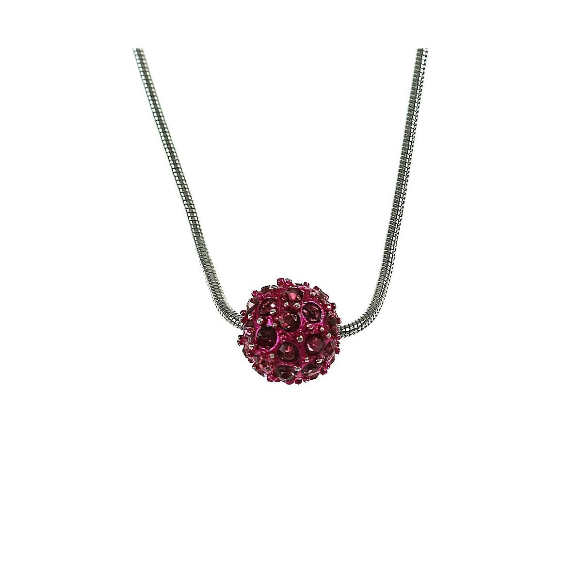 Collier perle de shambalah fushia