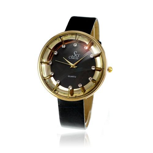 Montre femme bracelet noir So Charm made with crystal from Swarovski Elements