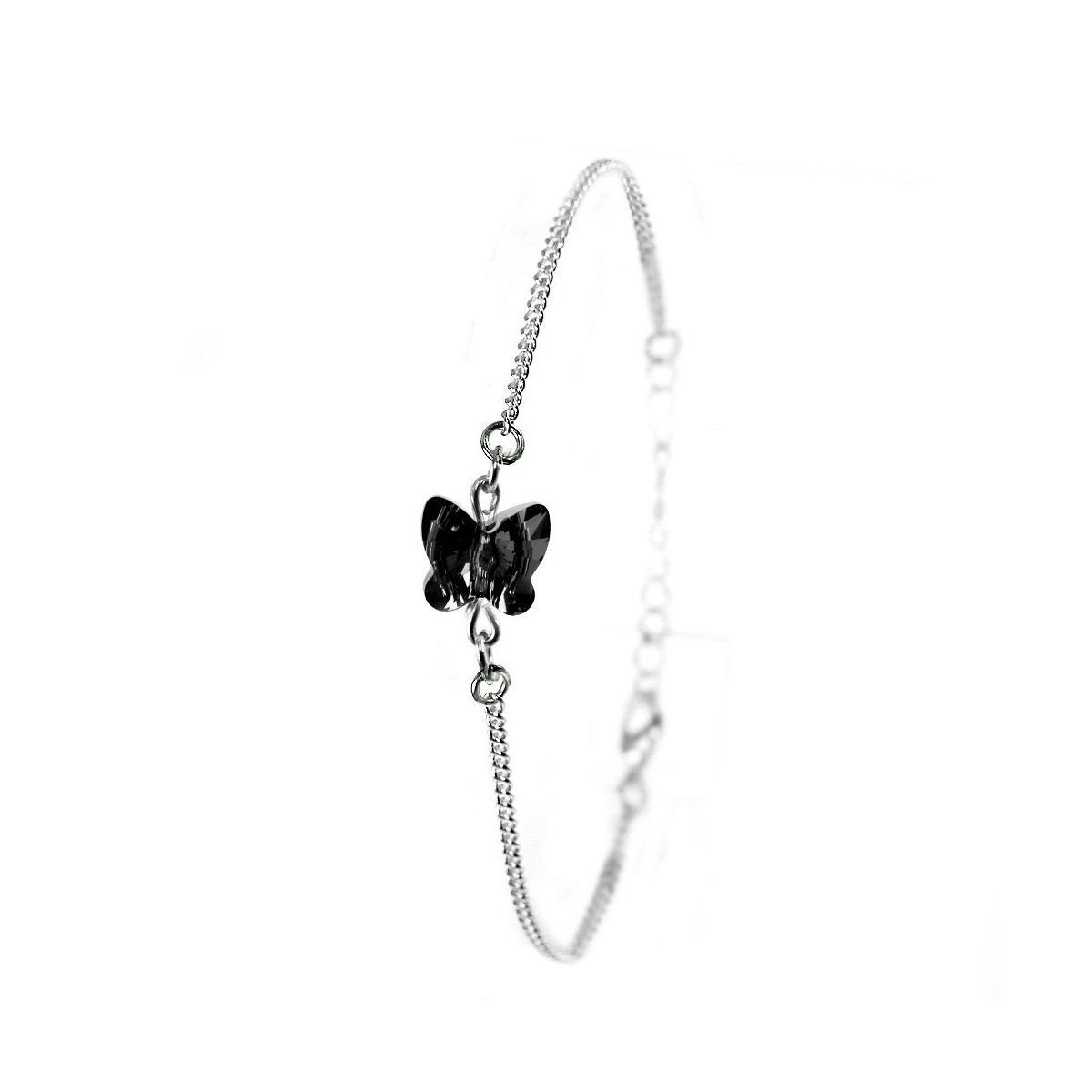 Bracelet argenté So Charm orné d'un papillon noir made with crystal from Swarovski