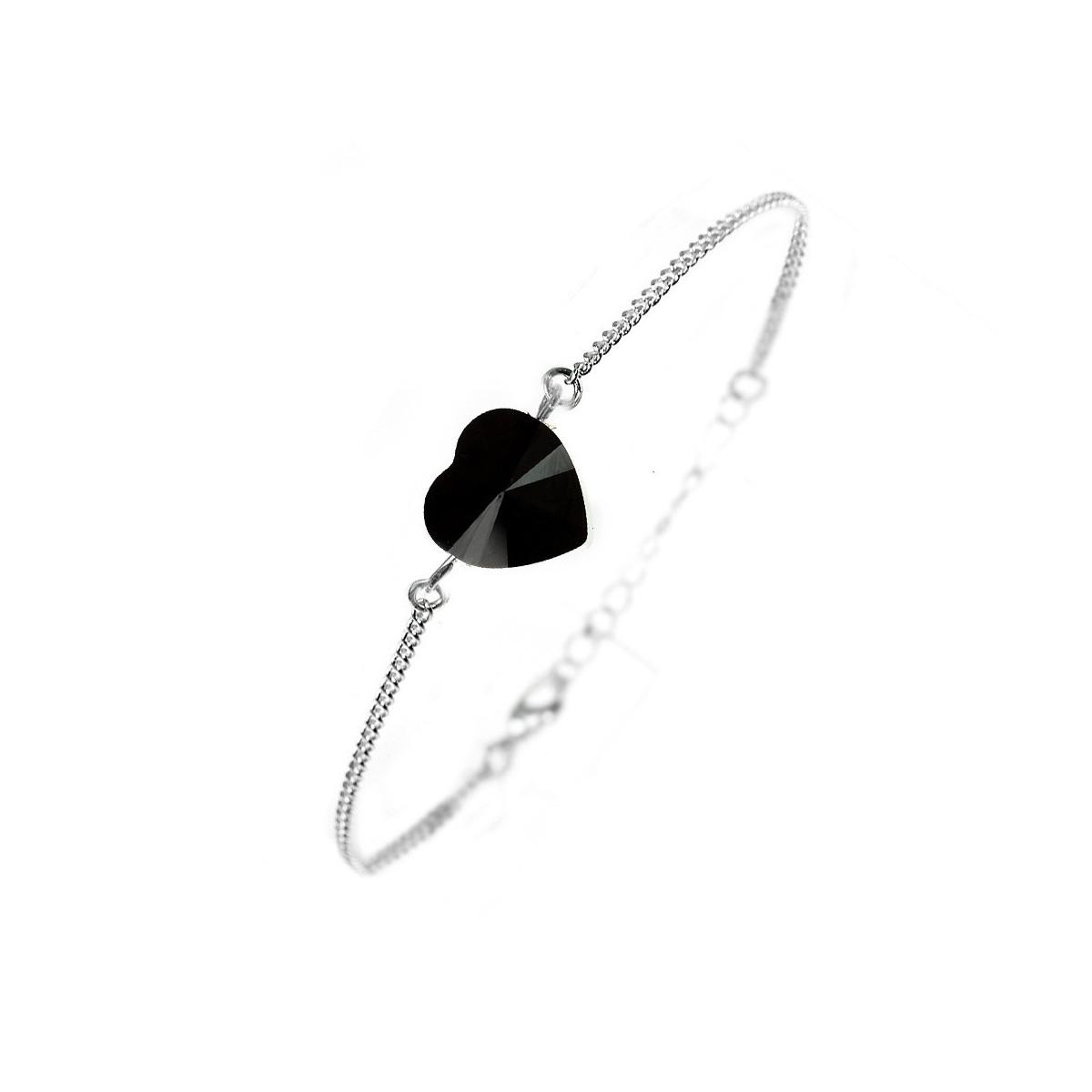 Bracelet argenté So Charm orné d'un coeur noir made with crystal from Swarovski