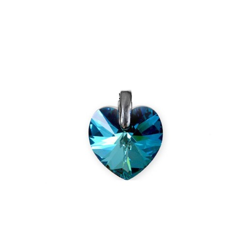 Pendentif coeur bermuda blue So Charm made with crystal from Swarovski