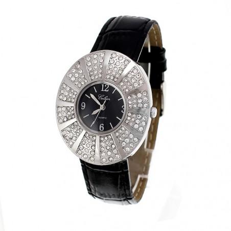 Montre femme ovale bracelet cuir noir