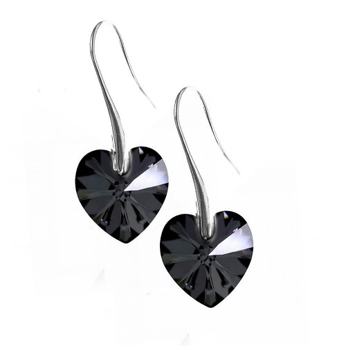 Boucles d'oreilles So Charm ornées d'un coeur noir made with crystal from Swarovski