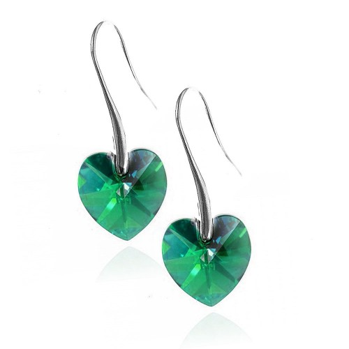 Boucles d'oreilles So Charm ornées d'un coeur vert made with crystal from Swarovski