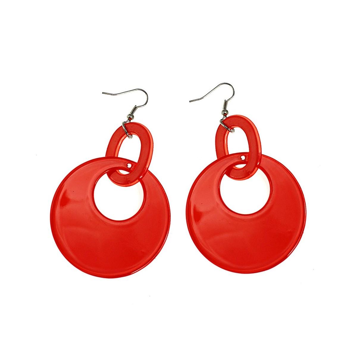 Boucles d'oreilles anneaux orange
