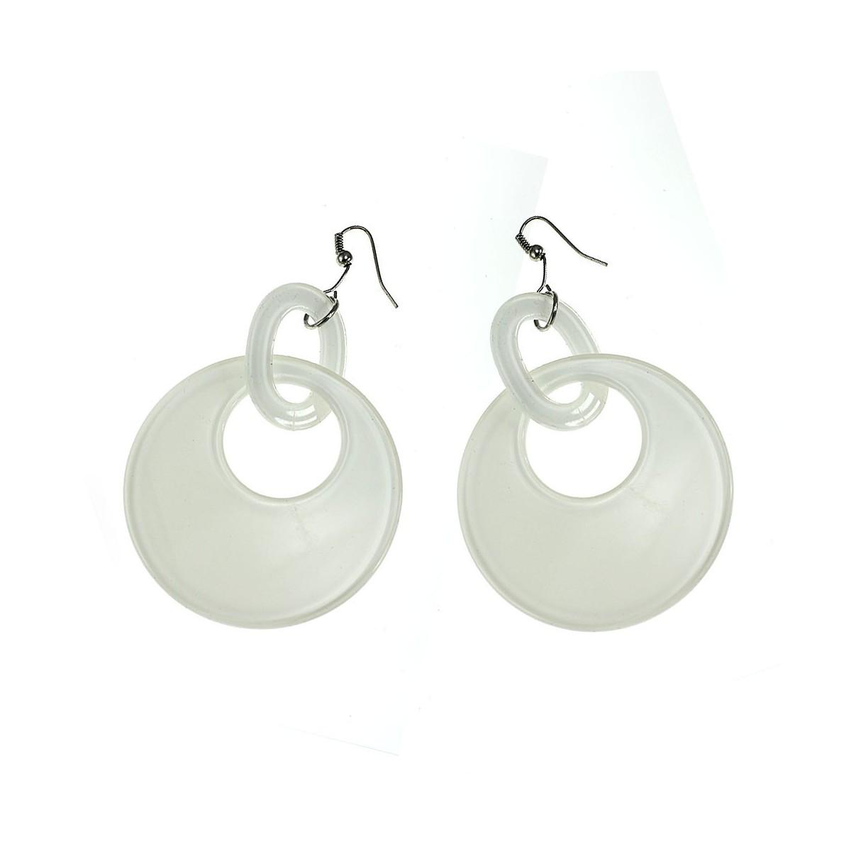 Boucles d'oreilles anneaux blanc
