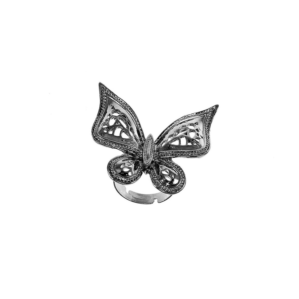 Bague XL argentée papillon