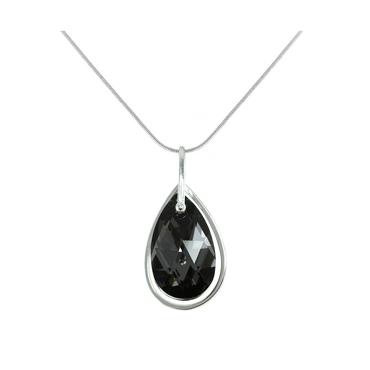 BS003-SN025-SINI Collier argenté et goutte cristal noir So Charm made with crystal from Swarovski