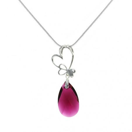Collier argenté goutte cristal rose et coeurs So Charm made with crystal from Swarovski
