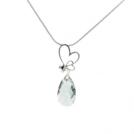 Collier argenté goutte cristal et coeurs So Charm made with crystal from Swarovski