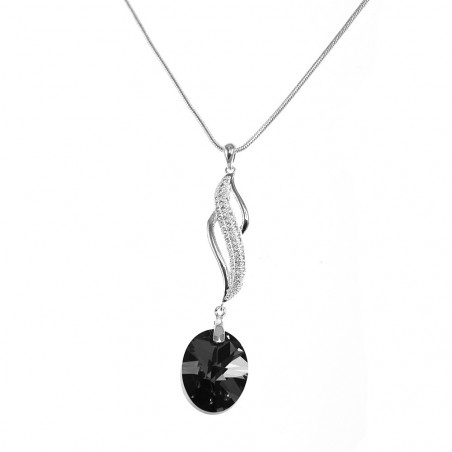 Collier argenté vagues et cristal noir So Charm made with crystal from Swarovski
