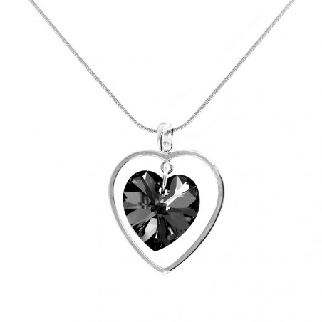Collier argenté et coeur noir So Charm made with crystal from Swarovski