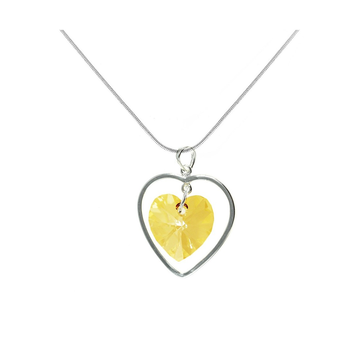 Collier argenté et coeur jaune So Charm made with crystal from Swarovski