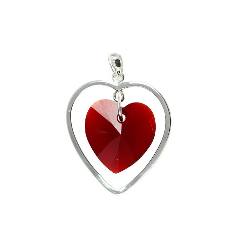 Pendentif argenté et cristal coeur So Charm made with crystal from Swarovski