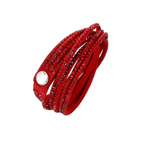 Bracelet fantaisie rouge multi tours