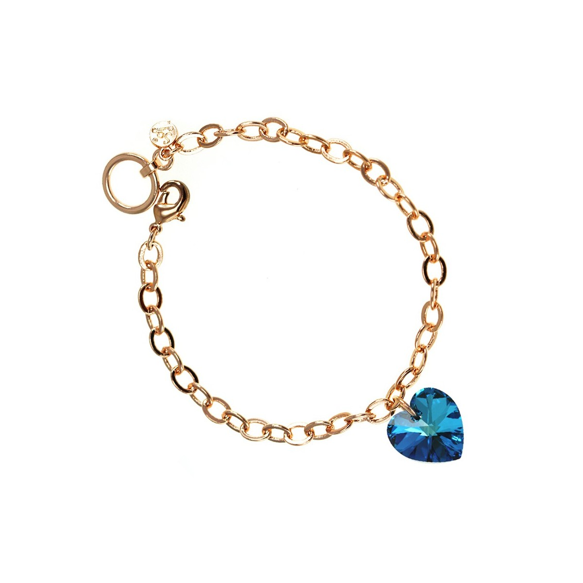 Bracelet plaqué or rose et coeur bleu So Charm made with crystal from Swarovski