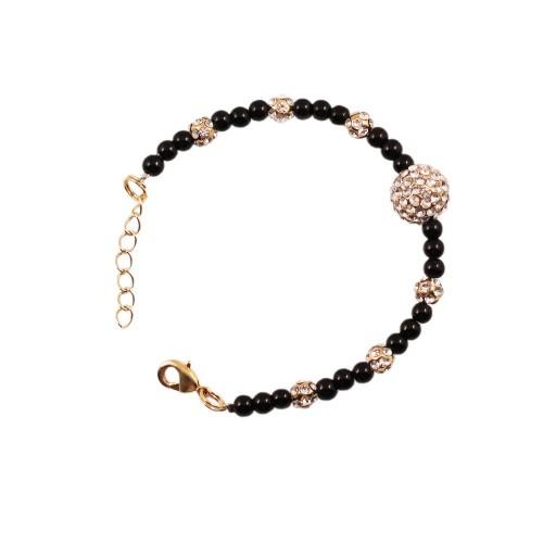 Bracelet  perles noires et strass