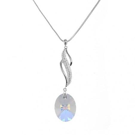 Collier argenté vagues et cristal irisé So Charm made with crystal from Swarovski