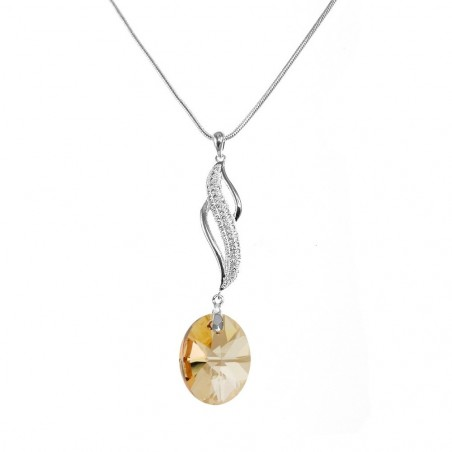 Collier argenté vagues et cristal golden So Charm made with Crystal from Swarovski