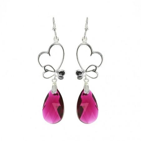 Boucles d'oreilles argentées goutte cristal et coeurs So Charm made with Crystal from Swarovski violet