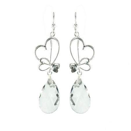 Boucles d'oreilles plaquées argent goutte cristal et coeurs So Charm made with crystal from Swarovski