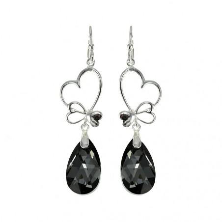 Boucles d'oreilles plaquées argent goutte cristal noir et coeurs So Charm made with crystal from Swarovski