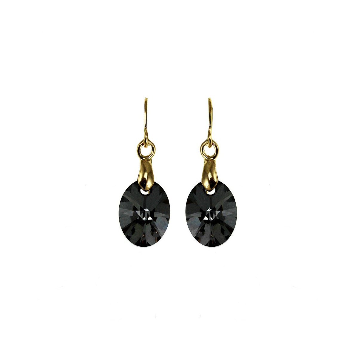 Boucles d'oreilles So Charm ornées d'un cristal noir made with crystal from Swarovski