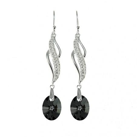 Boucles d'oreilles plaquées argent vagues et cristal noir So Charm made with crystal from Swarovski