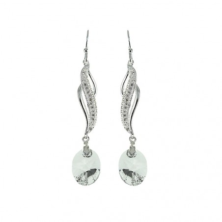 Boucles d'oreilles argentées vagues et cristal  So Charm made with Crystal from Swarovski
