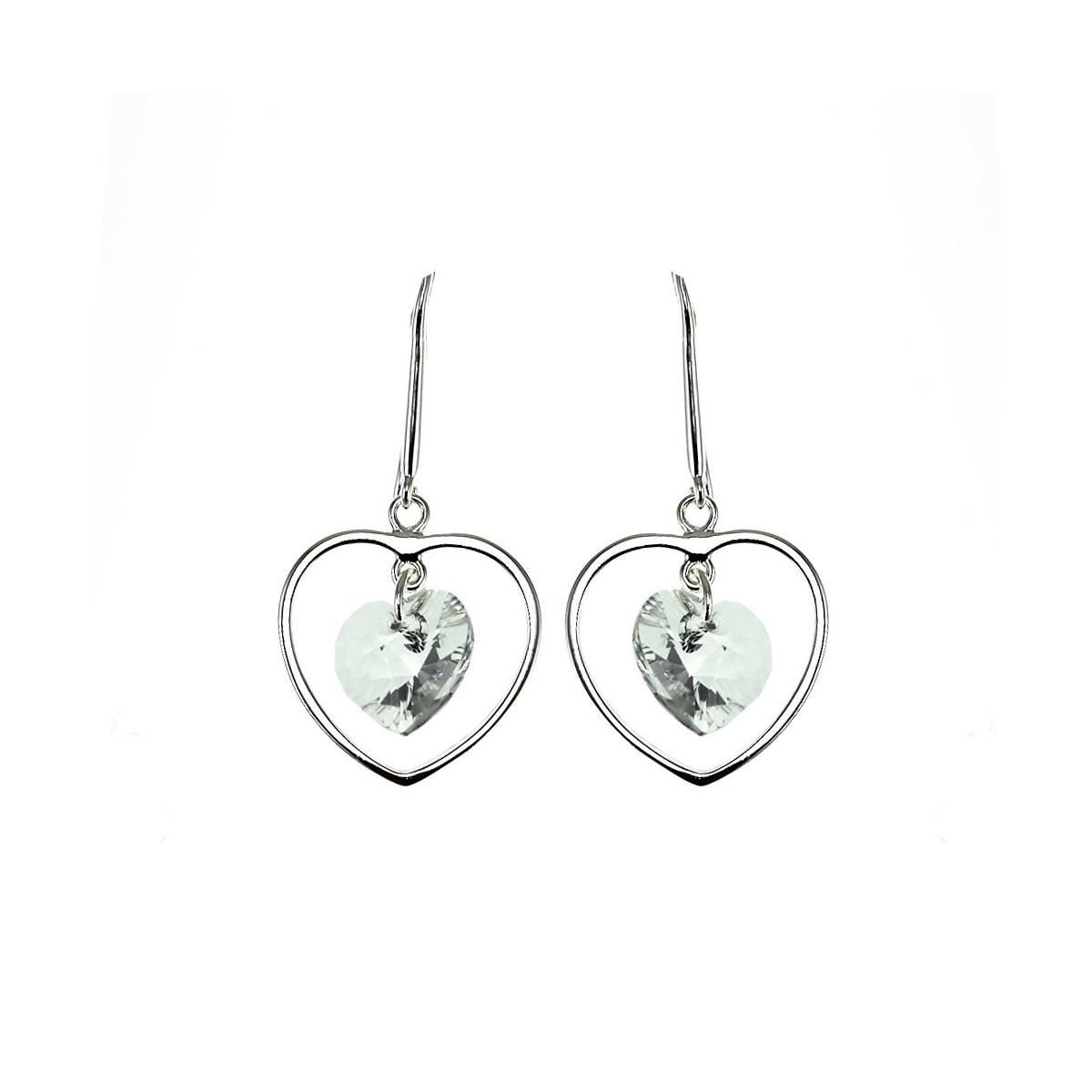 Boucles d'oreilles argentées et cristal coeur So Charm made with Crystal from Swarovski