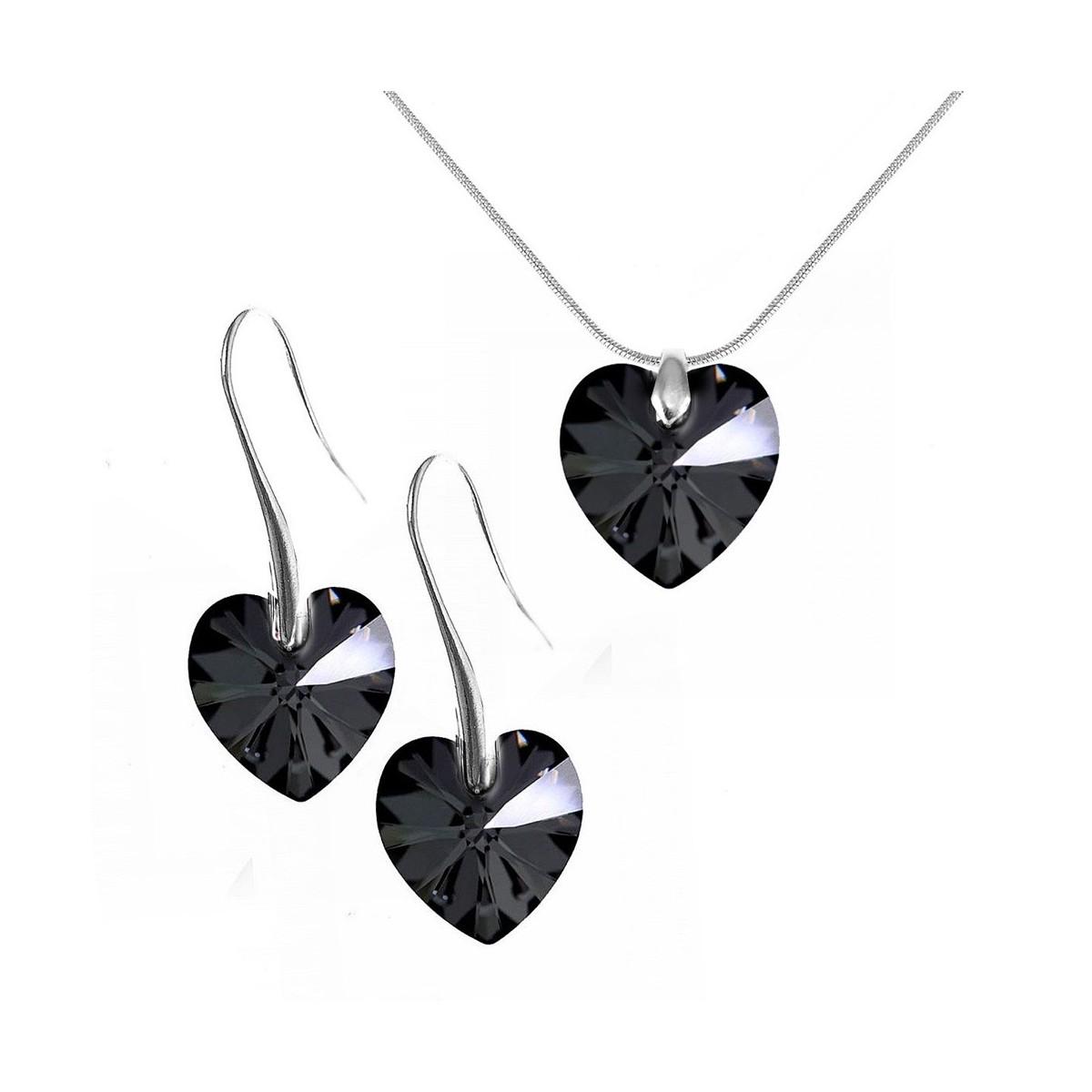 Parure collier et boucles d'oreilles argentés et coeurs noirs So Charm made with Crystal from Swarovski