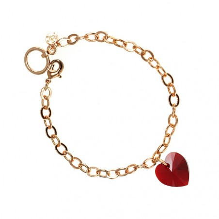 Bracelet plaqué or rose et coeur rouge So Charm made with crystal from Swarovski