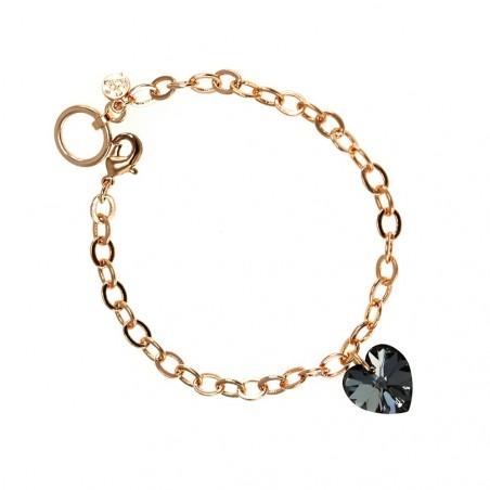 Bracelet plaqué or rose et coeur noir  So Charm made with crystal from Swarovski
