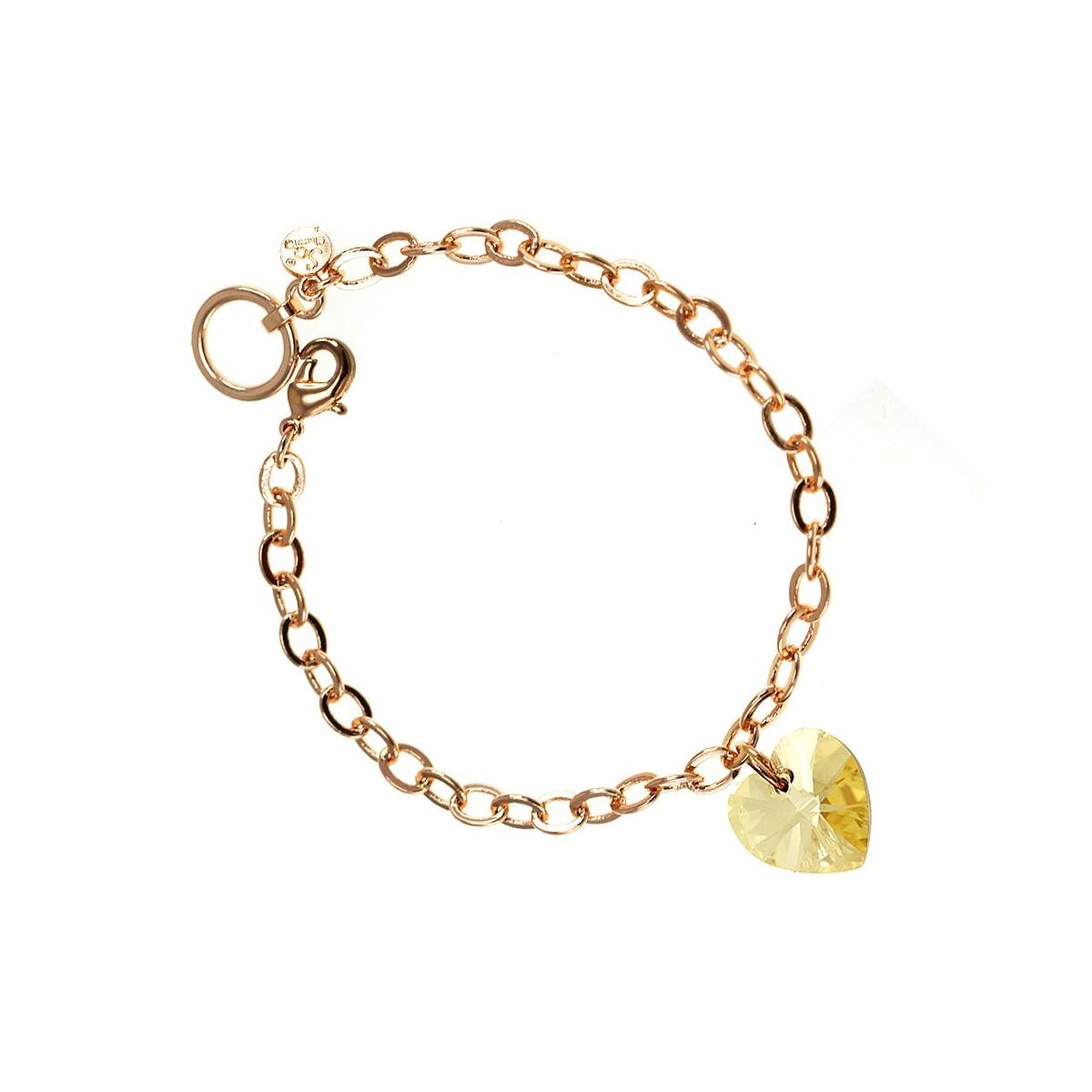 bracelet dor ros et coeur golden so charm orn de cristaux swarovski. Black Bedroom Furniture Sets. Home Design Ideas