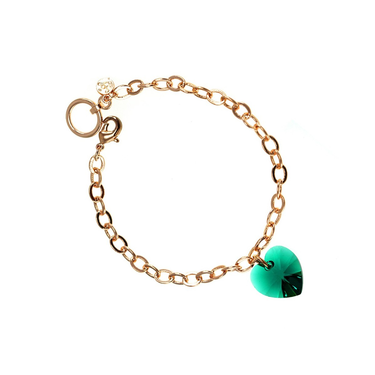 Bracelet plaqué or rose et coeur vert  So Charm made with crystal from Swarovski