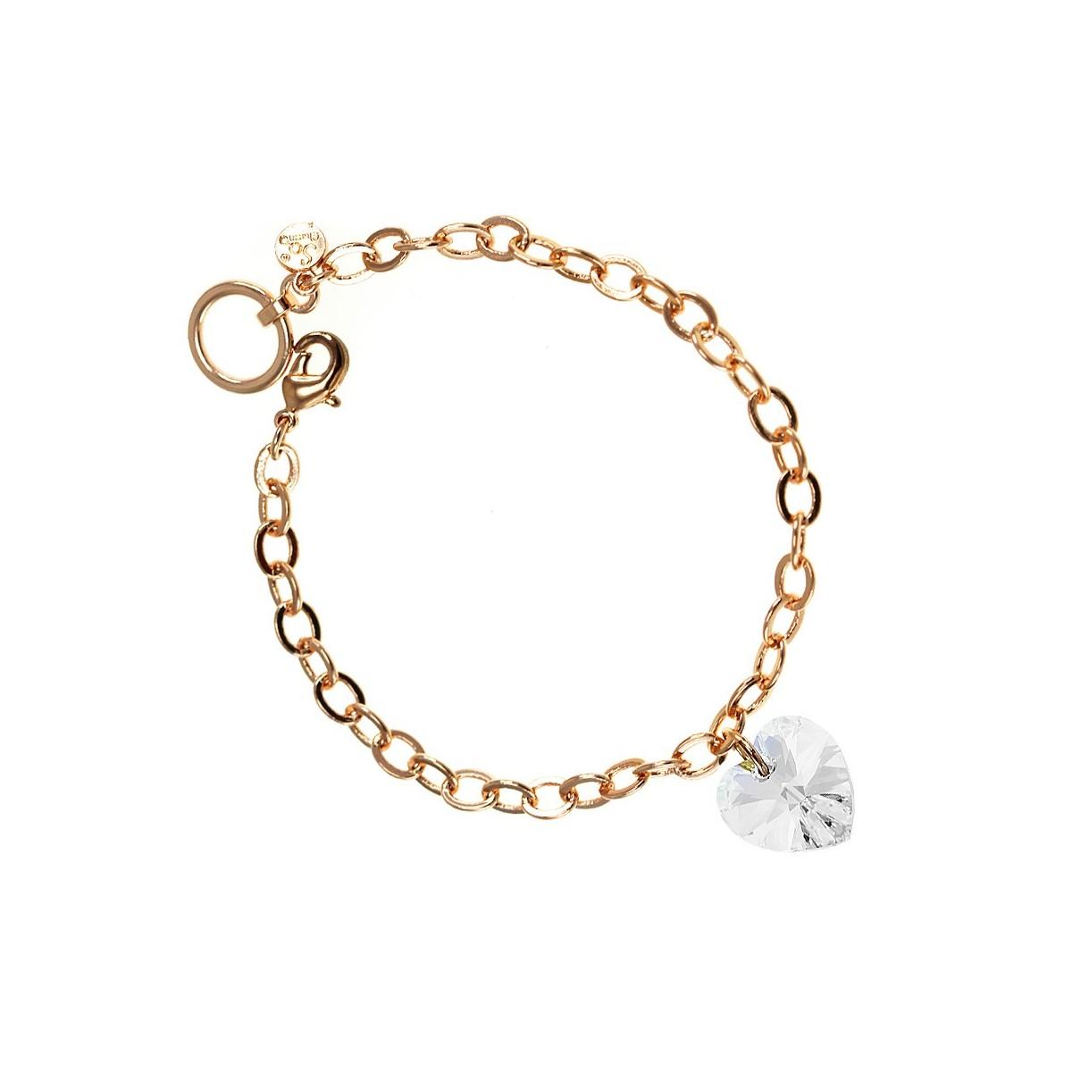 Bracelet plaqué or rose et coeur en cristal So Charm made with crystal from Swarovski blanc