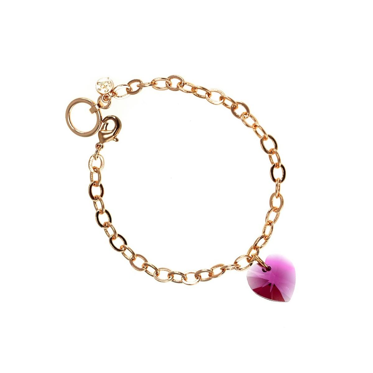Bracelet plaqué or rose et coeur rose So Charm made with crystal from Swarovski