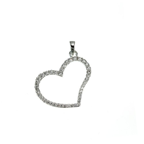 Pendentif coeur argenté So Charm made with zirconium from Swarovski
