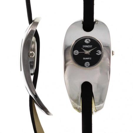 Montre argentée bracelet cuir fin