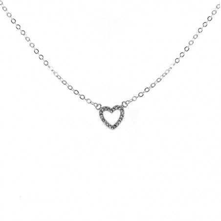 Collier coeur argenté So Charm made with zirconium from Swarovski