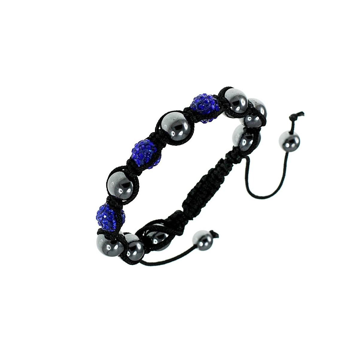 Bracelet shamballa en cristal de bohème bleu