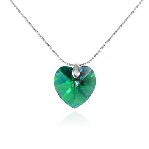 Collier argenté et coeur vert So Charm made with crystal from Swarovski