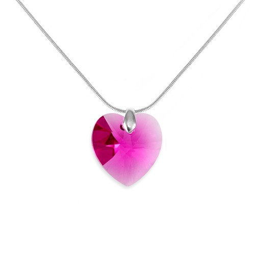 Collier argenté et coeur rose So Charm made with crystal from Swarovski
