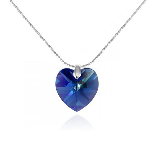 BS001-SN016-SAPH Collier argenté et coeur bleu So Charm made with crystal from Swarovski