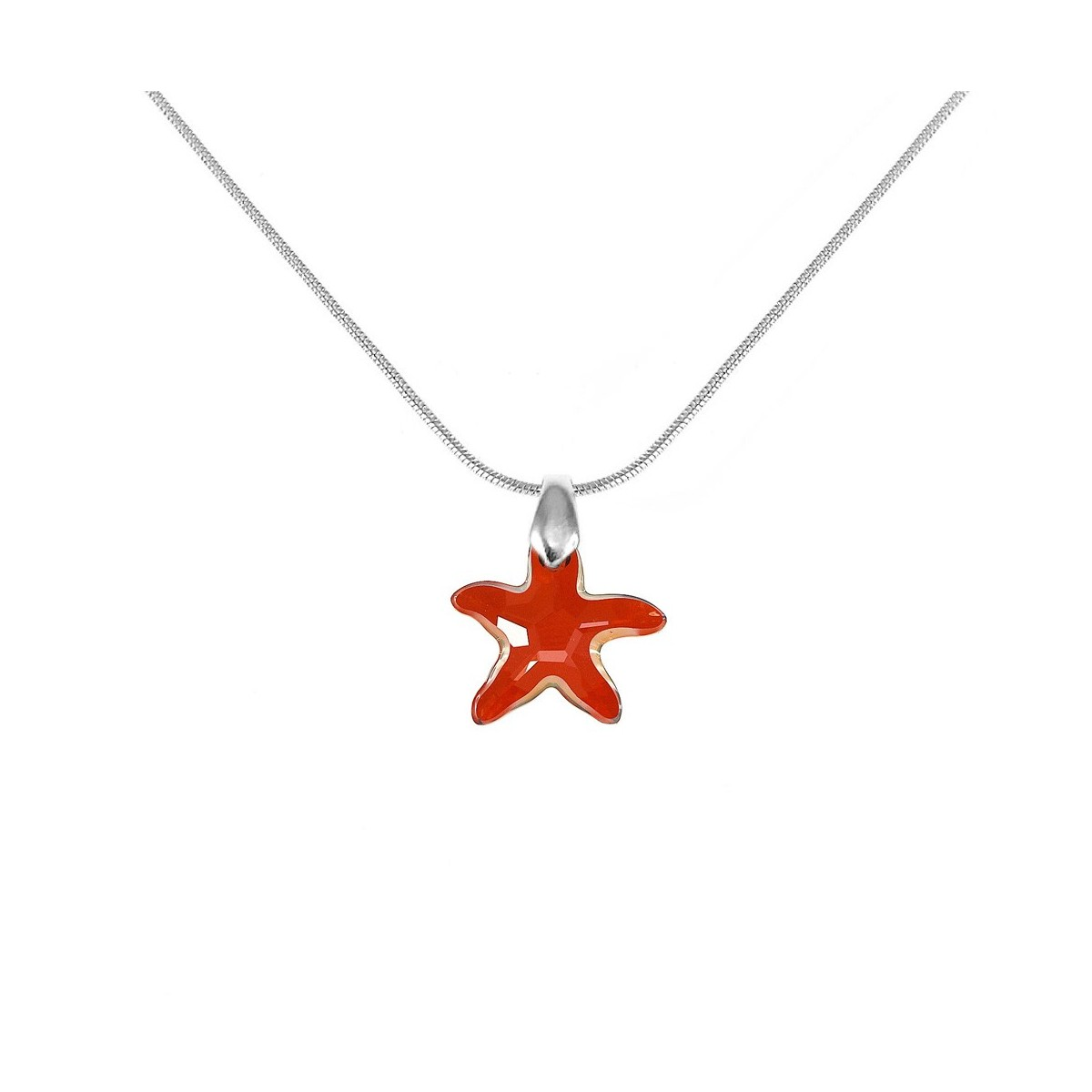 Collier argenté étoile de mer rouge So Charm made with Crystal from Swarovski
