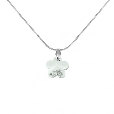 Collier argenté et fleur blanche So Charm made with crystal from Swarovski