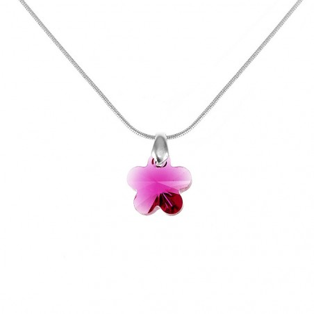 Collier argenté fleur rose So Charm made with Crystal from Swarovski