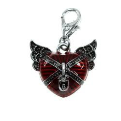 Charm coeur rouge et ailes...