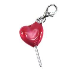 Charm sucette coeur rouge BR01