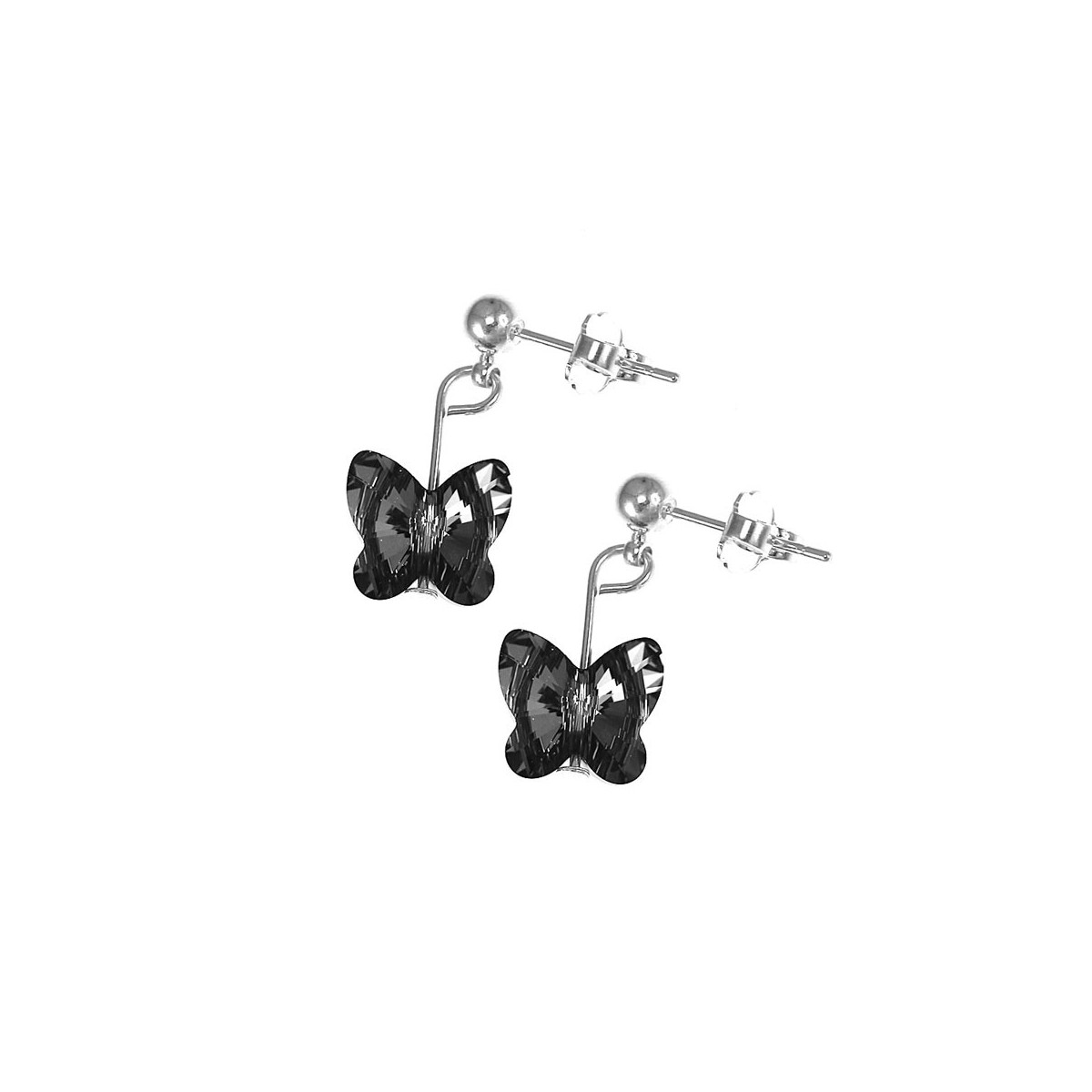 Boucles d'oreilles So Charm ornées d'un papillon noir made with crystal from Swarovski